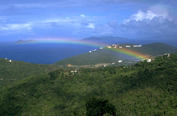 rainbow on a mountain